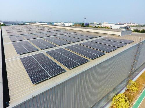 工場屋根の太陽光パネル.JPG